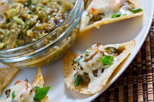 Shrimp Nachos with Avocado and Roasted Tomatillo Salsa