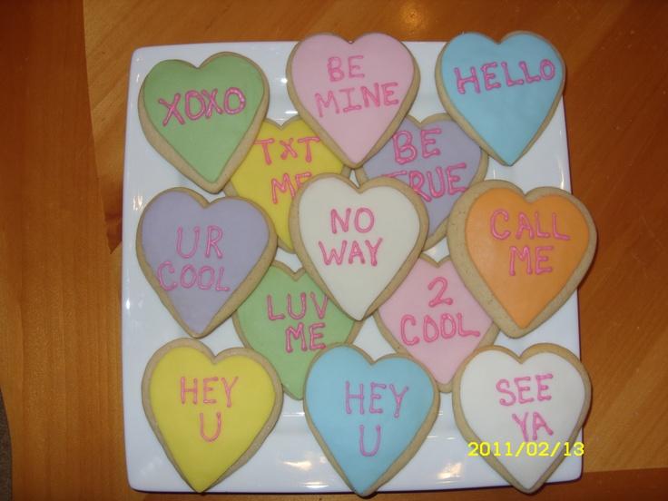conversation heart sugar cookies | Fabulous Foods | Pinterest