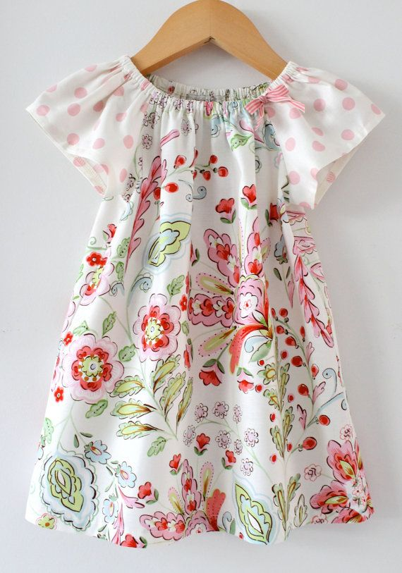 Baby Girl Dress shabby floral pink cream green peasant
