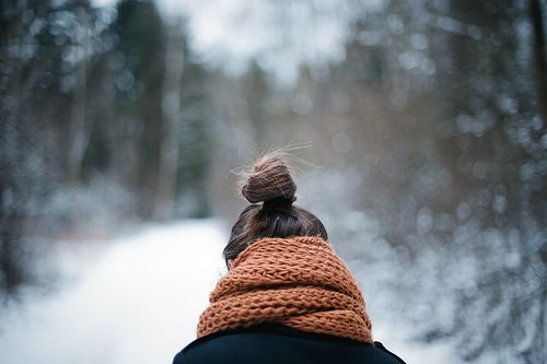#winter time snow, a knitted scarf and easy bun hairstyle