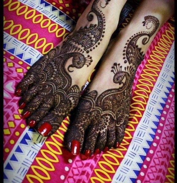 Peacock henna design feet