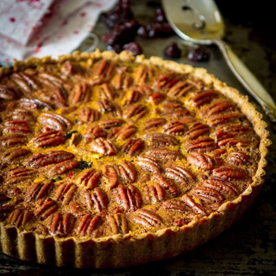 Pecan and dried cherry tart with maple | Recipe