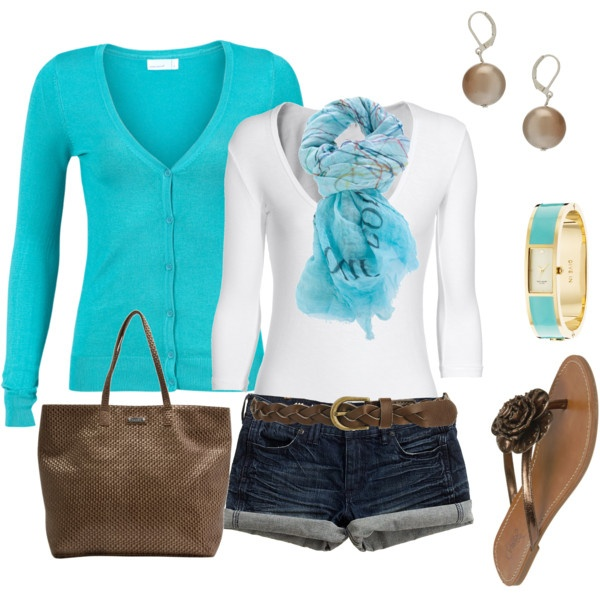 Turquoise and brown casual comfort, created by romigr99 on Polyvore