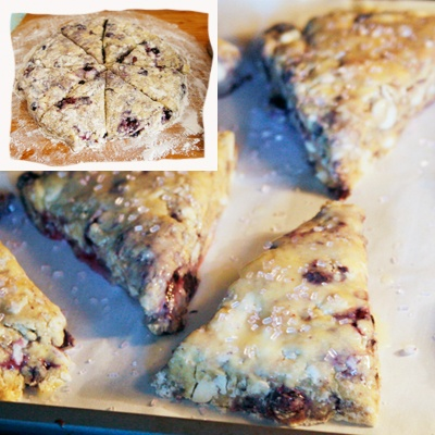chocolate scones with meyer lemon curd blueberry and white chocolate ...