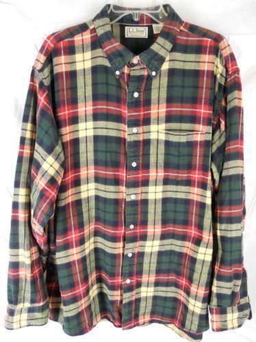 L l bean flannel shirt mens xxl tall xxlt 2xlt green red for Mens xxl tall dress shirts