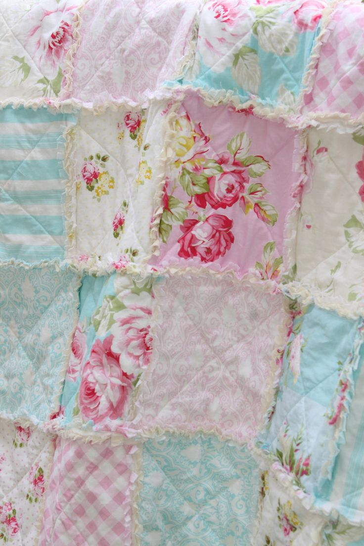 Crib Rag Quilt Baby Girl Crib Bedding Shabby Chic by justluved, $109 ...