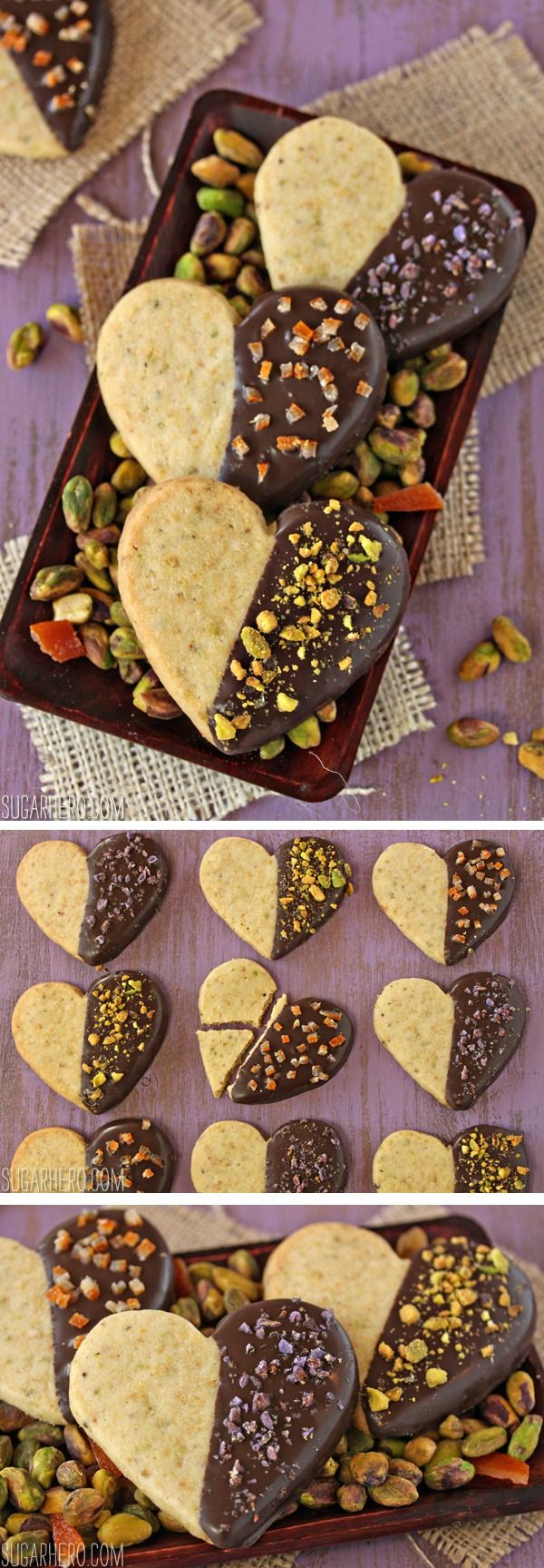 Pistachio Shortbread Cookies, dipped in chocolate! | From SugarHero ...