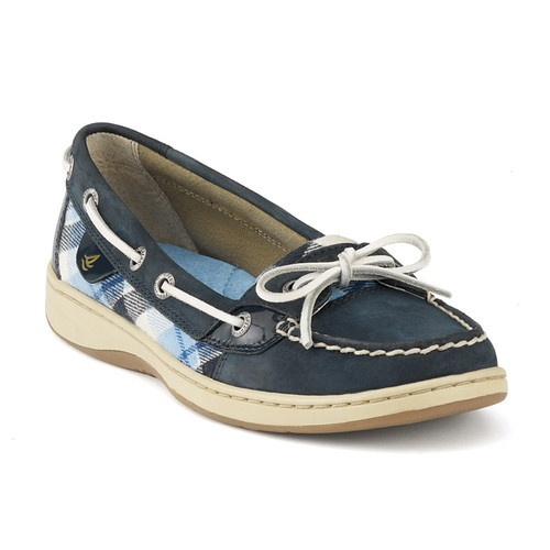 womens sperry topsider angelfish navy nubuck plaid boat