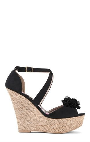 Peep Toe Platform Wedge with Chiffon Flower