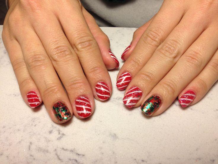 Christmas nails gel polish candy cane nails pinterest