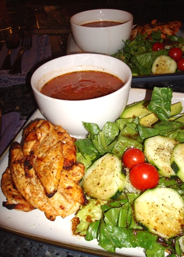Spicy Tomato Soup and Grilled Chicken naturally low fat and very green