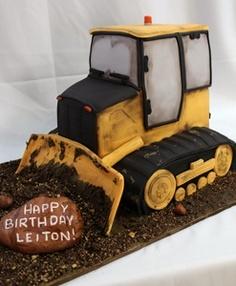 Caterpillar Bulldozer Birthday Cake