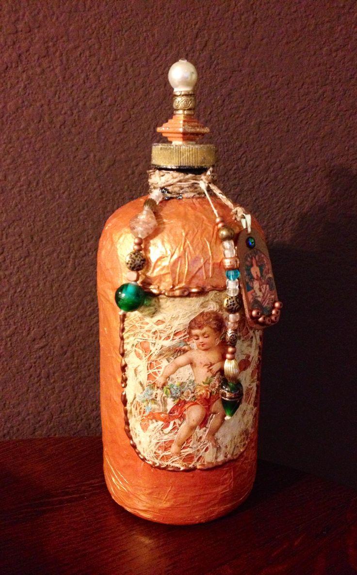 mixed media decorative bottle