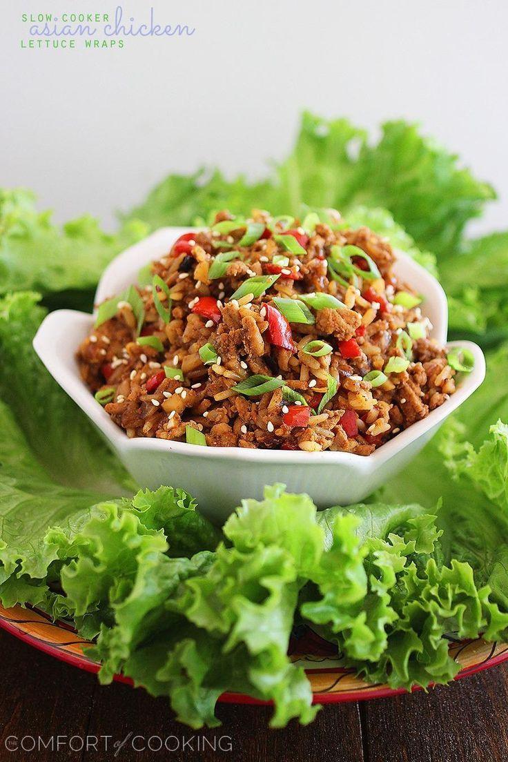 Slow Cooker Asian Chicken Lettuce Wraps. | slow cookin' | Pinterest