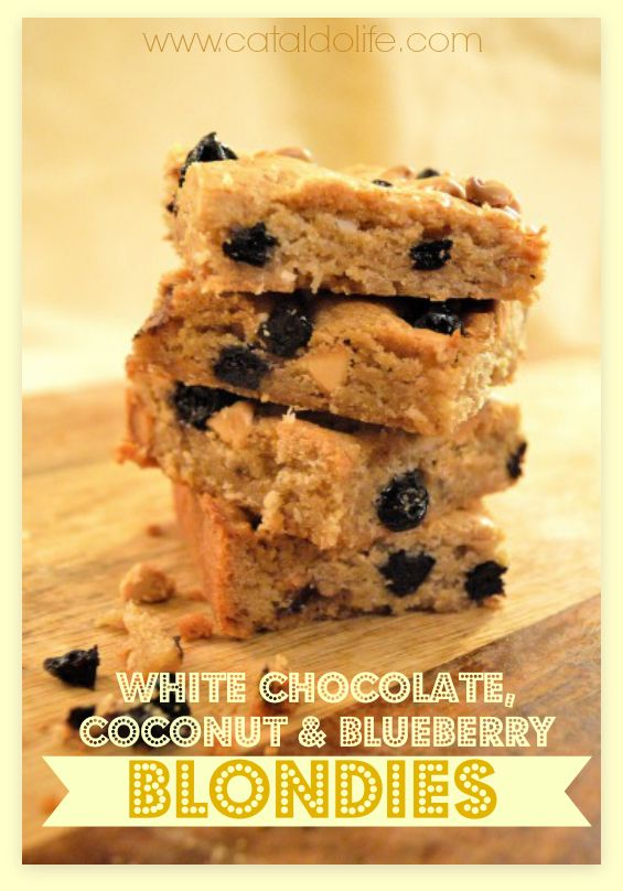White Chocolate, Coconut & Blueberry Blondies | Satisfaction for the ...