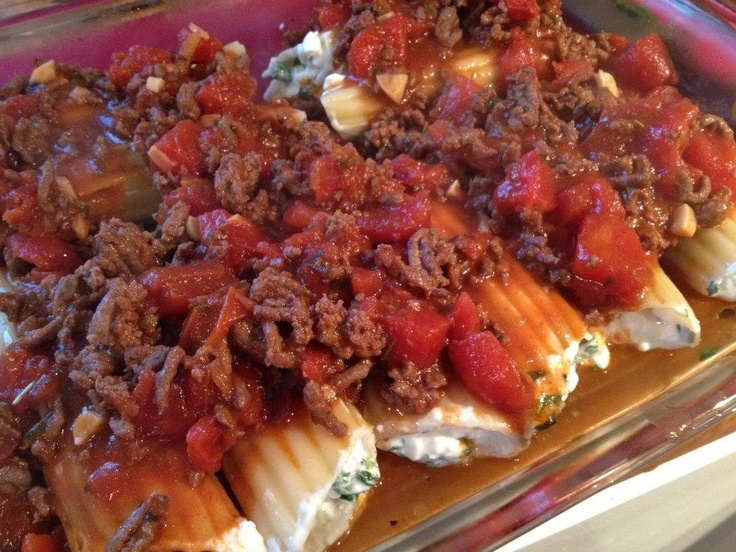 spinach & cheese stuffed manicotti shells with homemade meat sauce # ...
