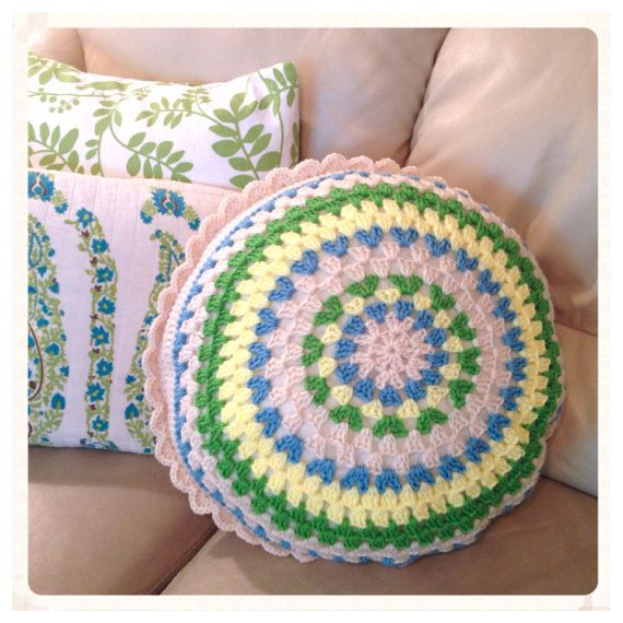 Handmade Pillow Round Cushion Shabby Chic Blue Yellow Green Cream cro ...