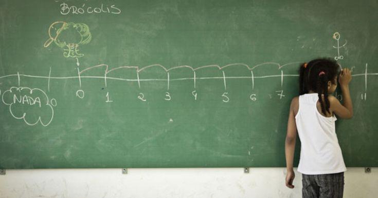 Menina calculando no quadro verde