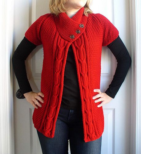 Free Knitting Pattern For A Gilet : Gilet Eva - modele gratuit en francais Knitting stuff Pinterest