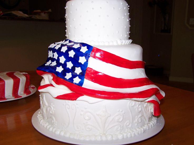 Flag wedding cake american flag pinterest for American flag cake decoration