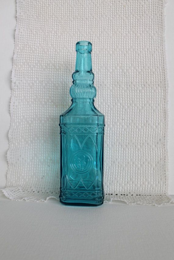 Glass bottle teal home decor accessory for Glass home decor