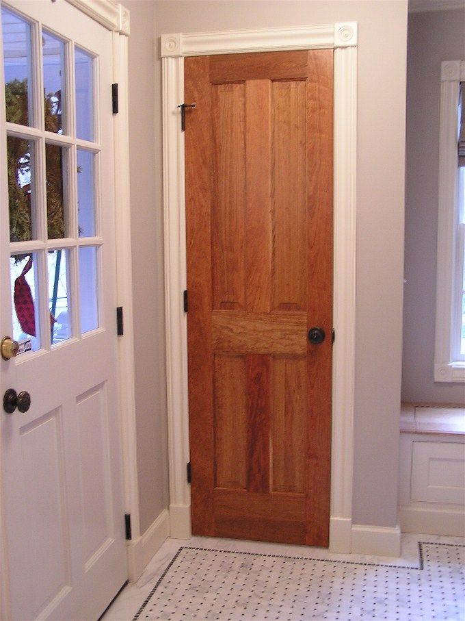 Stained door with white trim and casing home decor for Stained or painted trim