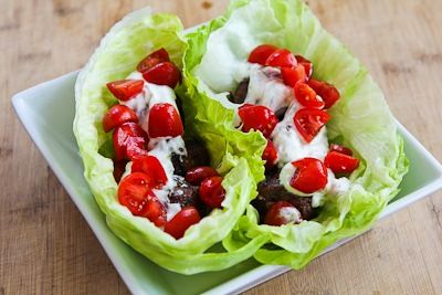 Ground Beef Gyro Meatball Lettuce Wraps With Tzatziki And ...