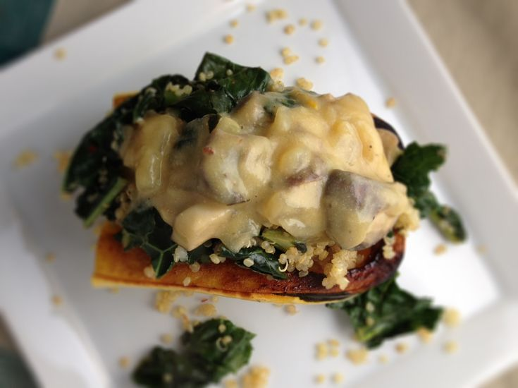 Stuffed Delicata Squash Boats with Quinoa, Kale and Vegan mushroom ...