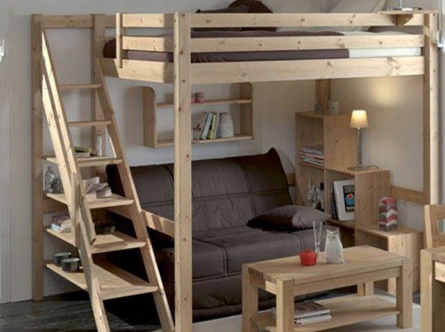 Lit 2 mezzanine salon studi p le m le pinterest - Plan lit mezzanine 2 places ...