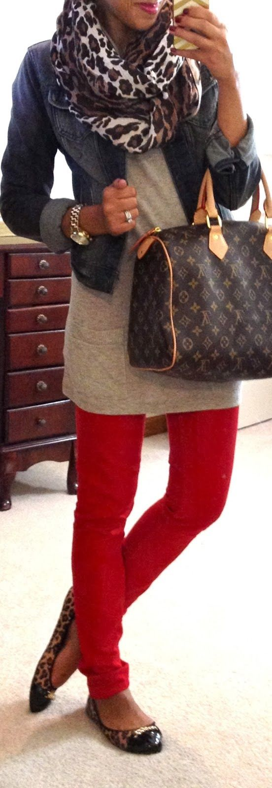 Fall Outfit With Leopard Scarf,Jeans Jacket and Flats Xmas want Louis Vuitton large speedy bag