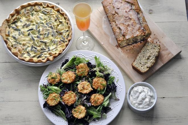 The lunch menu includes asparagus, leek and Gruyère quiche, mini ...