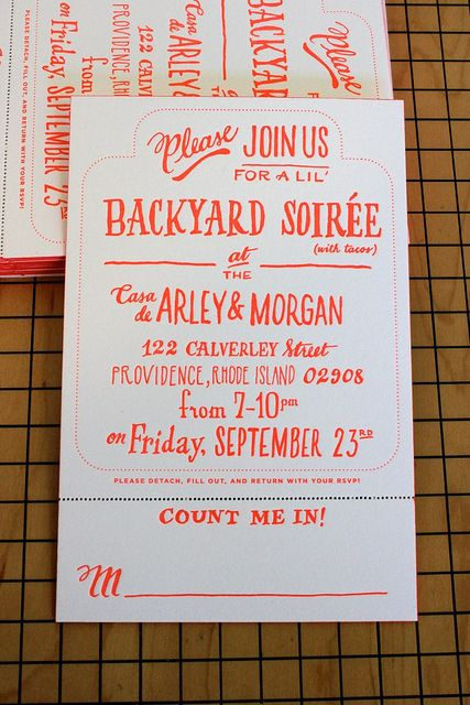 backyard soirée handdrawn letterpress invitation - for your housewarming!