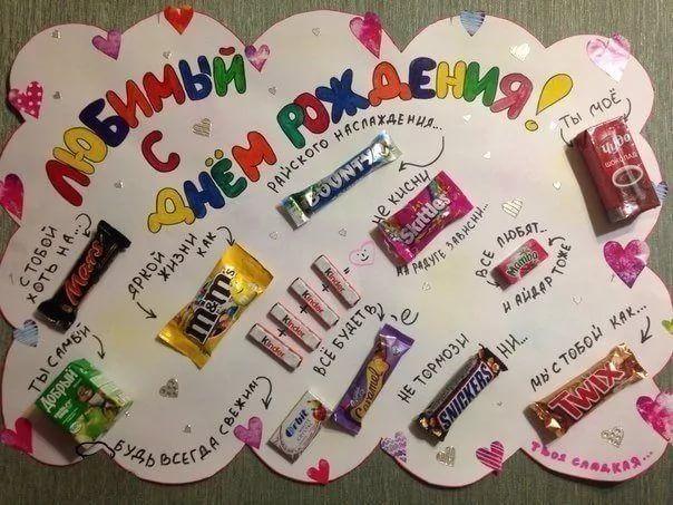 Подарок на день рождения на ватмане со сладостями 93