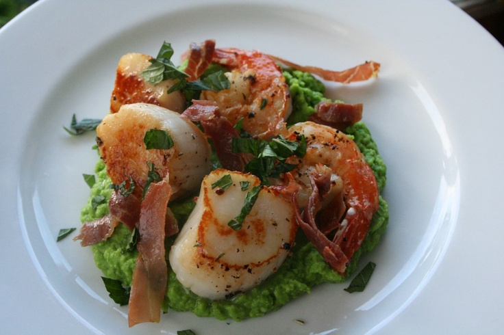 Shrimp and Scallops with Prosciutto and Minted Pea Puree