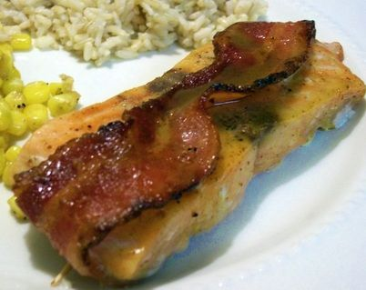 Bacon Wrapped Salmon with Bourbon Honey Mustard Glaze