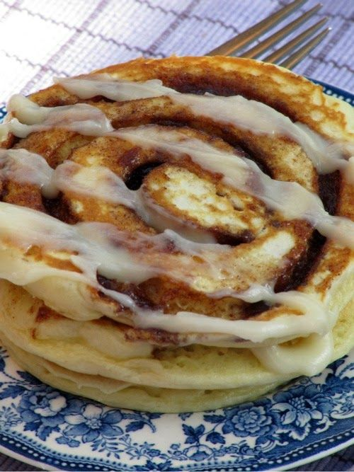 Pine Cones and Acorns: Cinnamon Roll Pancakes for the Weekend