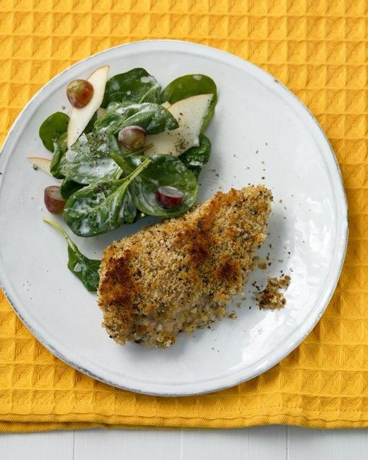 Buttermilk Baked Chicken with Spinach Salad Recipe