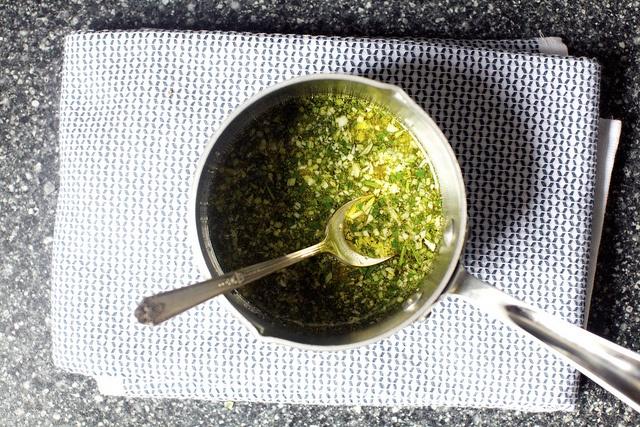 garlic rosemary oil, - white bean and pasta