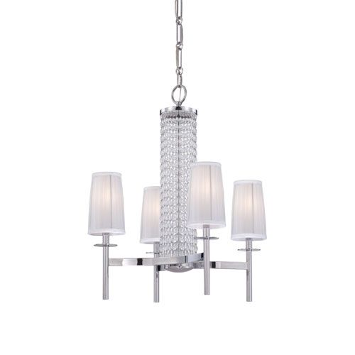 Candence polished chrome four light chandelier with silver organza