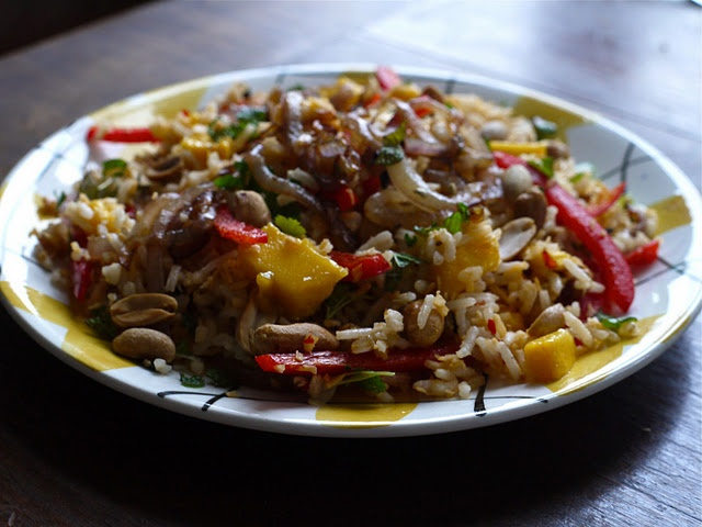 Rice Salad with Mango, Coconut and Peanuts