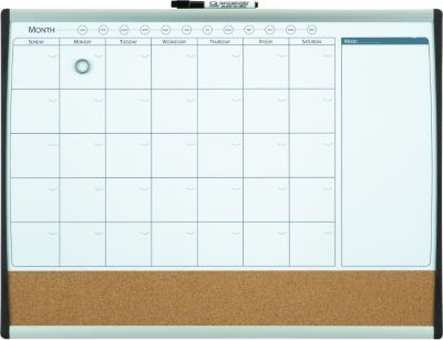 ... ® Magnetic Combination Calendar Board, Dry-Erase & Cork, 17'' x 23
