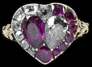 A 17th century heart-shaped ring combines rubies (passion) and diamonds (steadfastness). (VA Museum)