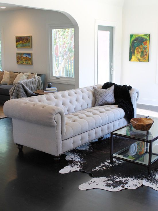 chesterfield sofa + cowhide rug