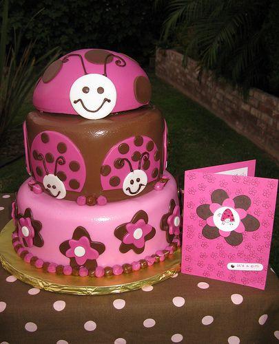 Pink Lady Bug Cake | children's birthday cakes | Pinterest