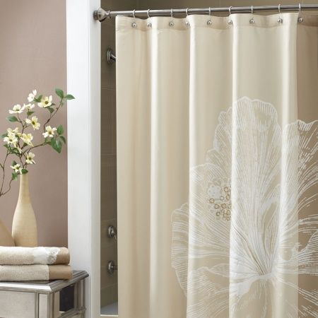 Croscill Hibiscus Shower Curtain - The Hibiscus shower curtain is an over scaled panel print in a soft shade of sandy beige. At the center of the hibiscus flower, the stamen has been embroidered using gold metallic yarns for just a touch of bling. #showercurtain #homedecor #bathroom #hibiscus #flower