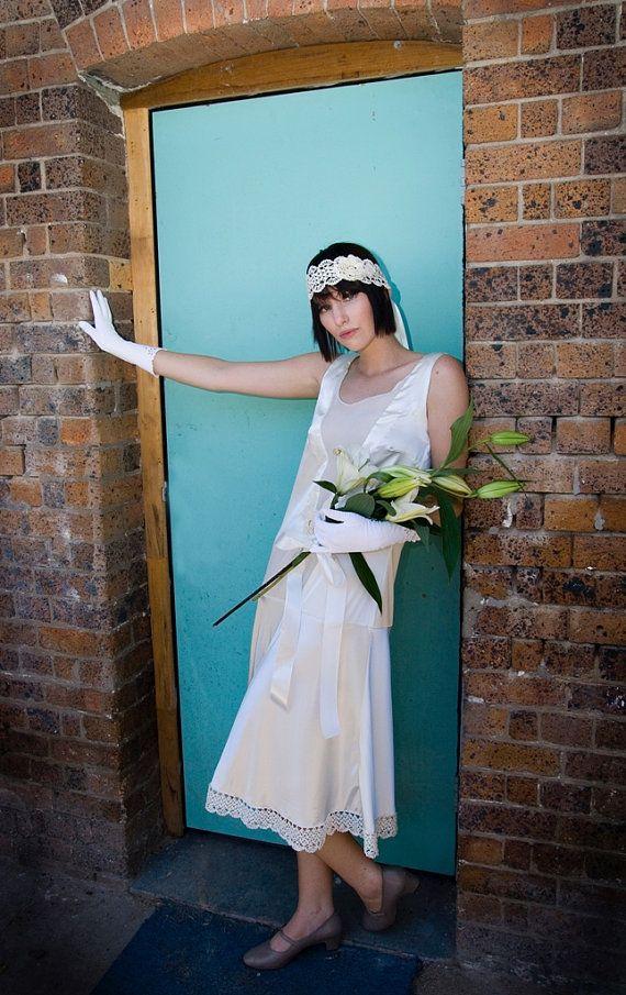 Stunning s inspired cream satin wedding dress by prilmantree