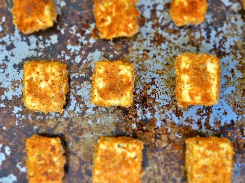 Baked tofu, like mozzarella sticks - What I just made. I added garlic ...