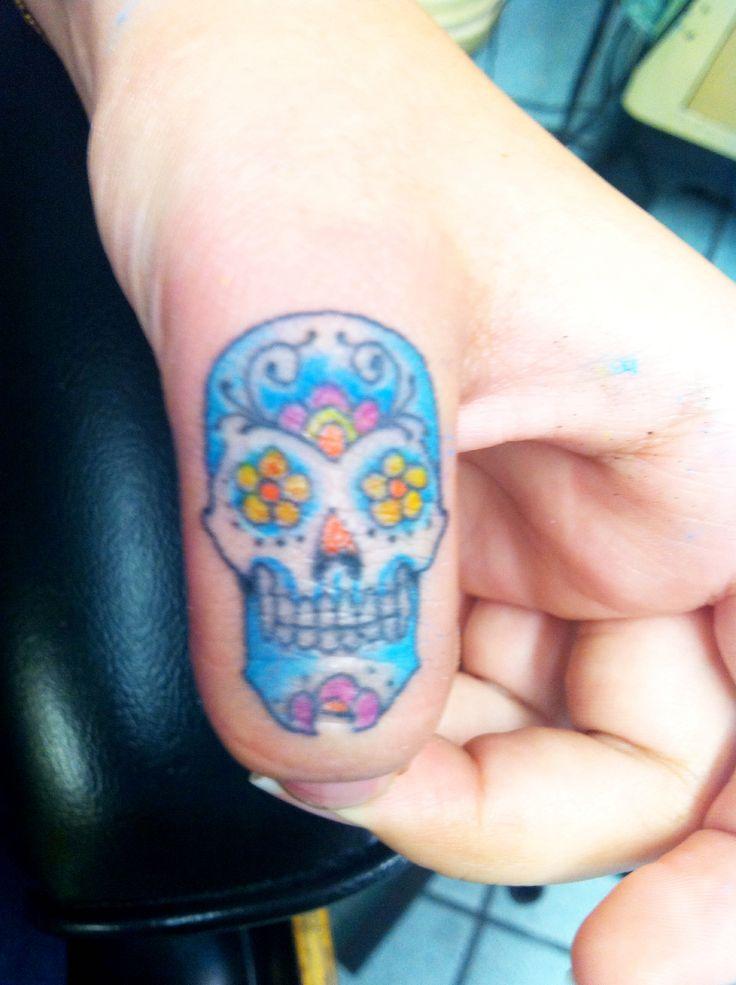Sugar Skull Tattoo On Finger