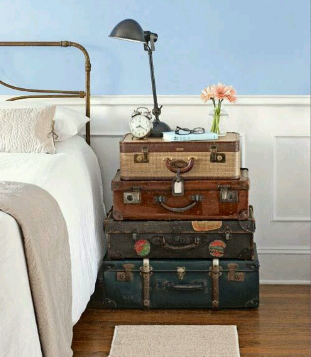 old suitcases nightstand diy neat ideas pinterest