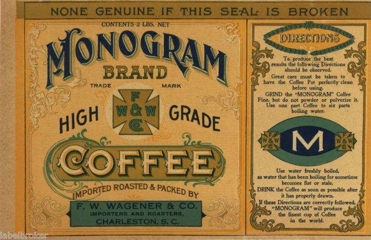 Tin Can Label Vintage Coffee Charleston Sc Advertising